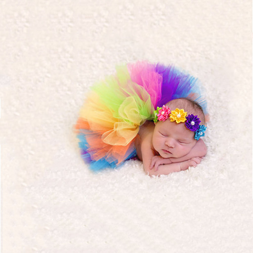 Rainbow Colors Tutu and Headband Set For Newborn - MunchkinGear.com