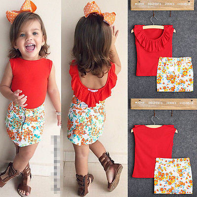 Red Top and Floral Skirt 2 Piece Set - MunchkinGear.com