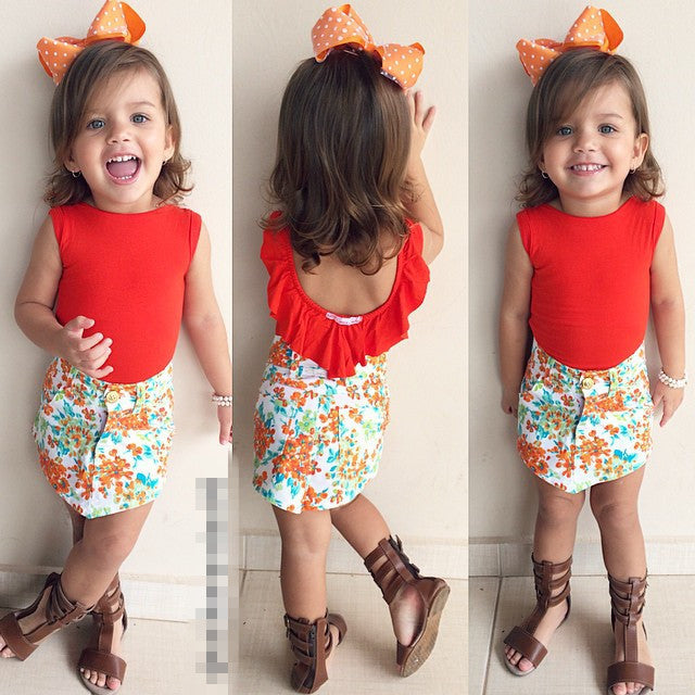 Red Top and Floral Skirt Set - MunchkinGear.com