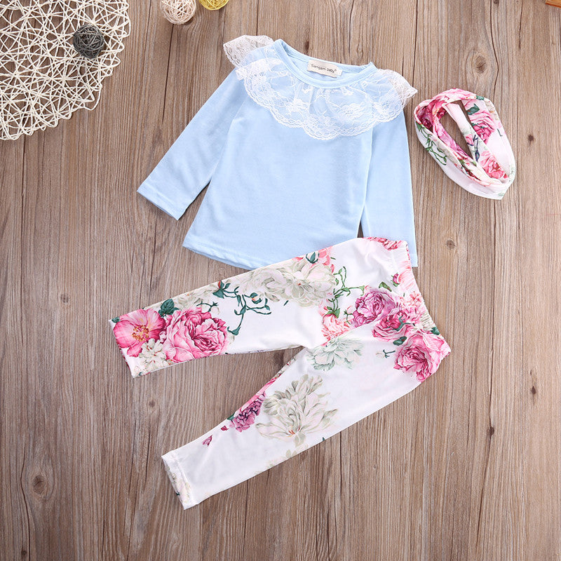 Blue Floral and Lace 3 Piece Set - MunchkinGear.com