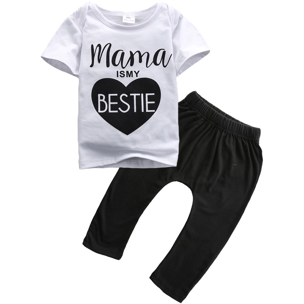 Short Sleeve Mama is my Bestie T-Shirt + Pant 2pcs Outfit - MunchkinGear.com