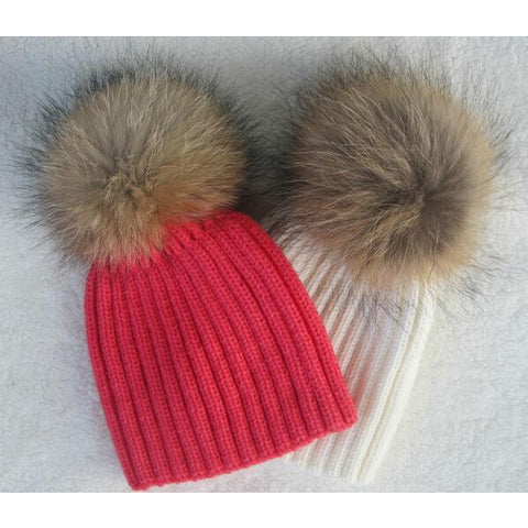 100% Real Raccoon Fur Knitted Hats - MunchkinGear.com
