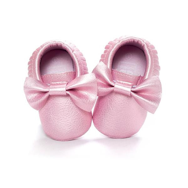 Shiny Pink Shoes With Bow - MunchkinGear.com
