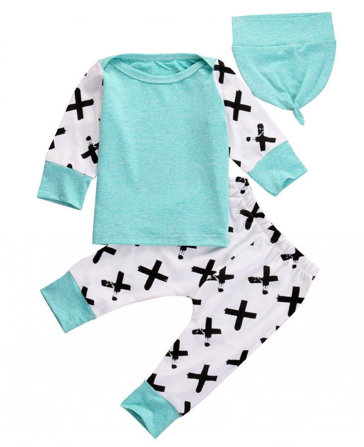 Turquoise Pattern Clothing Set
