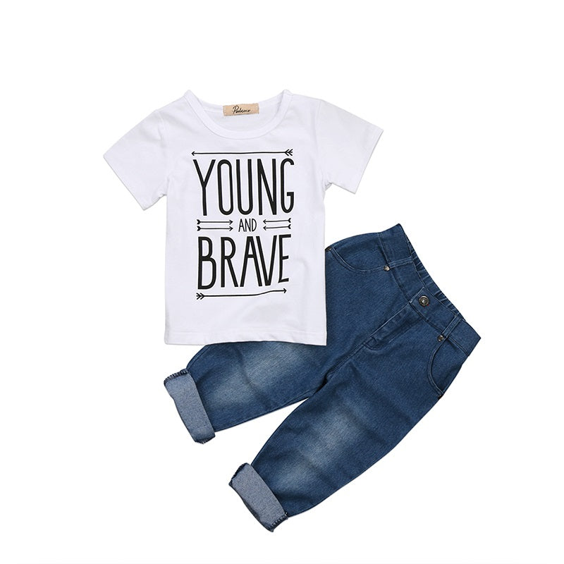 Young and Brave Denim 2 PC Set - MunchkinGear.com