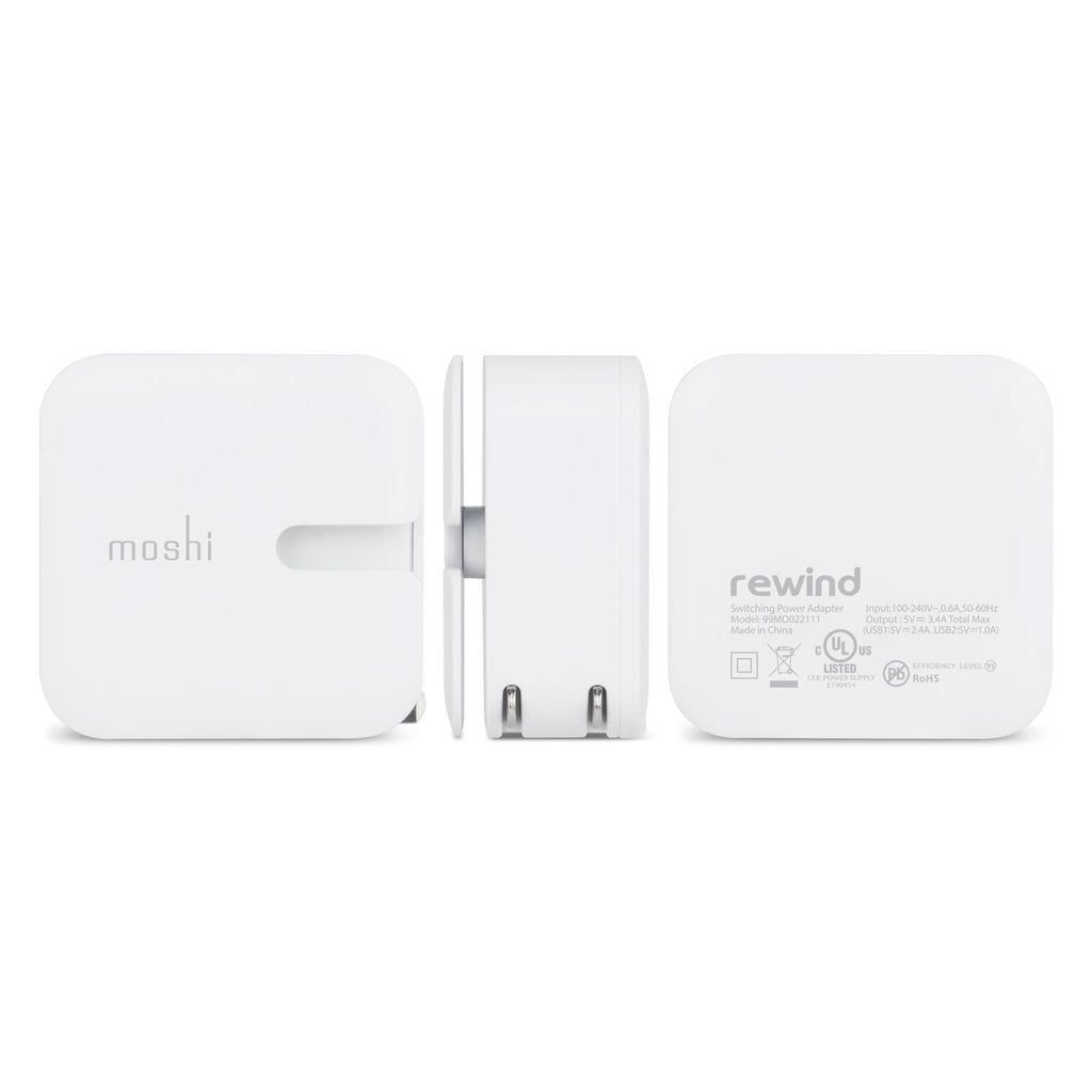 Moshi Rewind 2 USB Wall Charger (US) - White