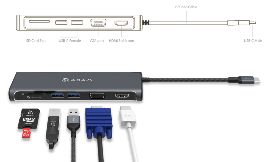 Adam Elements A03 USB-C 5 Port Hub Space Grey