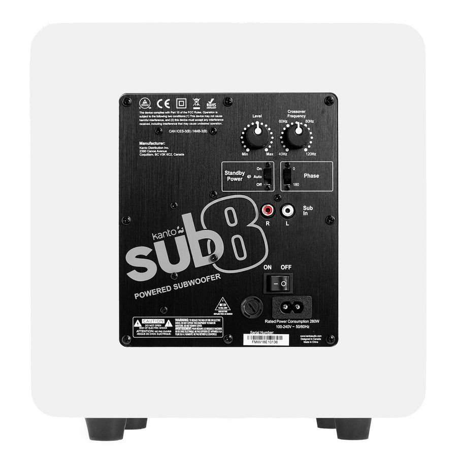 Kanto SUB8 8-inch Powered Subwoofer, Matte White back