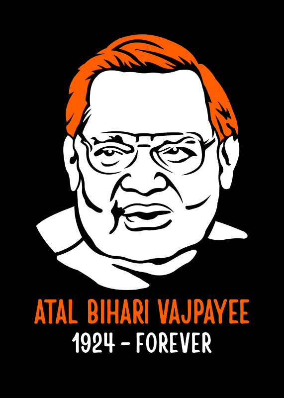 Atal-Bihari-Vajpayee-Half-Sleeve-T-Shirt-for-Men---Gajari-front-view
