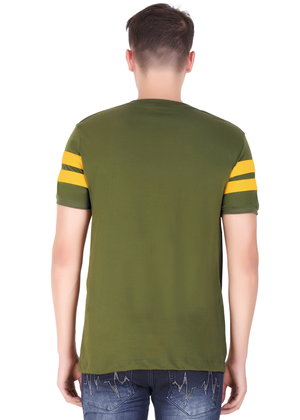 Olive Green yellow Striped T-shirt for men half sleeve cotton jersey at Gajari back