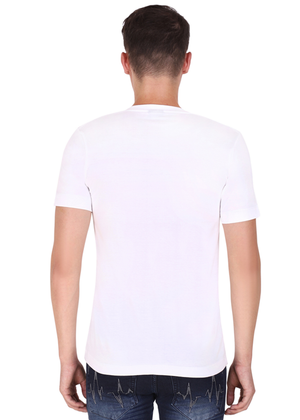 V Neck T Shirt for Men White Pure Cotton T bv