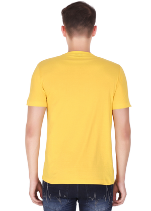 V Neck T Shirt for Men Pure Cotton Yellow back