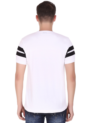 Striped Cotton T-Shirt for Men Stylish White and Black at Gajari Online T-Shirt Shopping India Back View