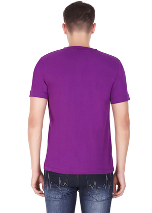 v neck t shirt for men purple tee pure cotton back