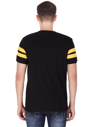 T-Shirt for Men Stylish made of cotton jersey available in black half sleeve round neck at gajari back
