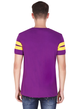 Purple T-Shirt for Men Stylish Half Sleeve Yellow Stripe Cotton Built at Gajari back