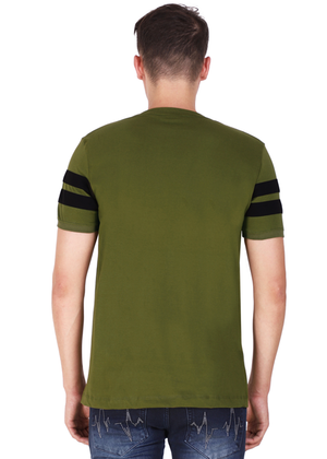 100% Cotton T-Shirt for Men Stylish Olive Green Black Striped online T-shirt shopping India back