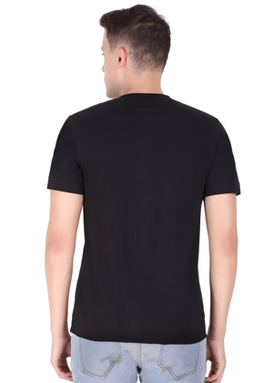 V Neck T Shirt for Men Black Pure Cotton back