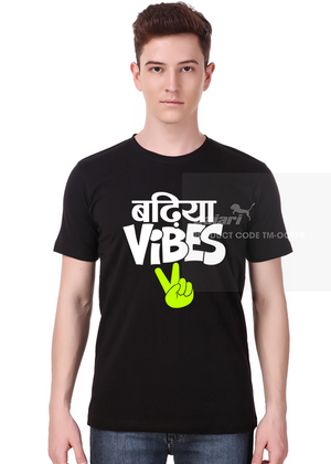 Badhiya-Vibes-T-Shirt-Online-Shopping-India-at-Gajari-front-view