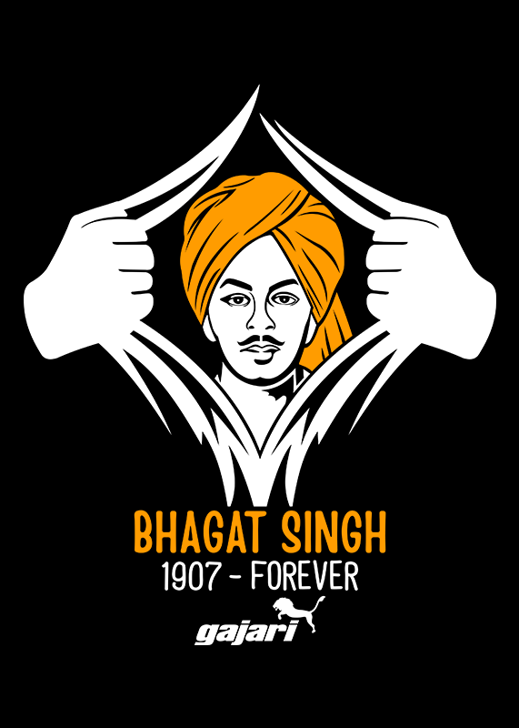 Bhagat-Singh-T-Shirt-The-National-Hero-Of-India-at-Gajari-front