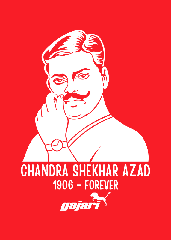 Chandra-Shekhar-Azad-Printed-t-shirt-for-men-Online-shopping-India-at-Gajari-the-best-T-Shirt-Brand-front