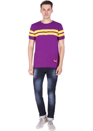 Purple T-Shirt for Men Stylish Half Sleeve Yellow Stripe Cotton Built at Gajari ff