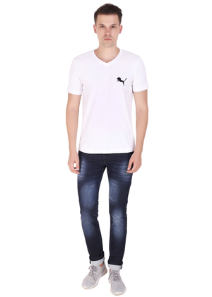 V Neck T Shirt for Men White Pure Cotton T ff
