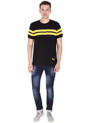 T-Shirt for Men Stylish made of cotton jersey available in black half sleeve round neck at gajari ff