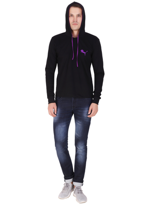 branded hoodies for men black full sleeve made of pure cotton jersey ff