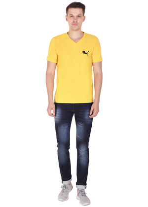 V Neck T Shirt for Men Pure Cotton Yellow ff