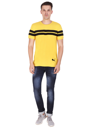 Cotton T-Shirt for Men Stylish Half Sleeve Yellow Color Black Striped online shopping India at Gajari ff