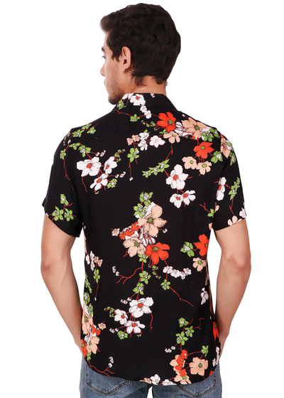 7e2b790667fe Gajari 2019 New Fashion Flower Printed Half Sleeve Shirt for Men, Vint -  Gajari.com