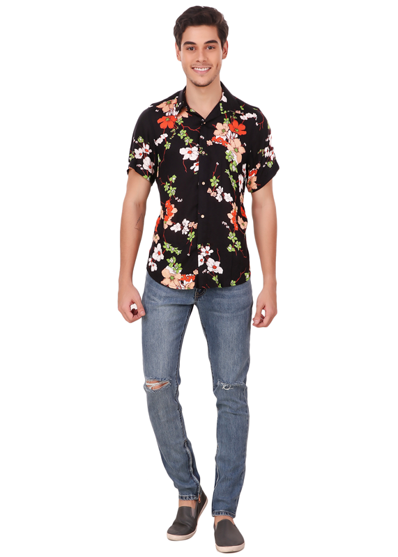 aaee92f72755 ... Gajari 2019 New Fashion Flower Printed Half Sleeve Shirt for Men,  Vintage Cotton Rayon Blend ...