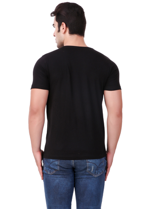 Hanji-Hello-t-shirt-mens-round-neck-cotton-black-at-Gajari-Com-back