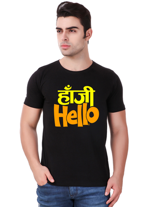 Hanji-Hello-t-shirt-mens-round-neck-cotton-black-at-Gajari-Com-front-view