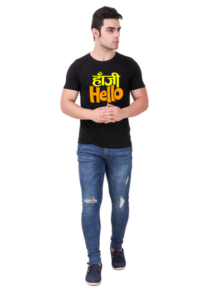 Hanji-Hello-t-shirt-mens-round-neck-cotton-black-at-Gajari-Com-full-front