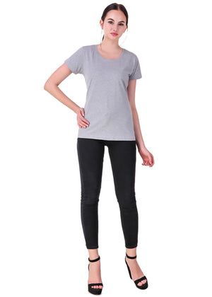 Heather-Grey--Short-Sleeve-Plain-T-Shirt-for-Women-Online-at-Gajari.com-The-Best-T-Shirt-Brand-FFV