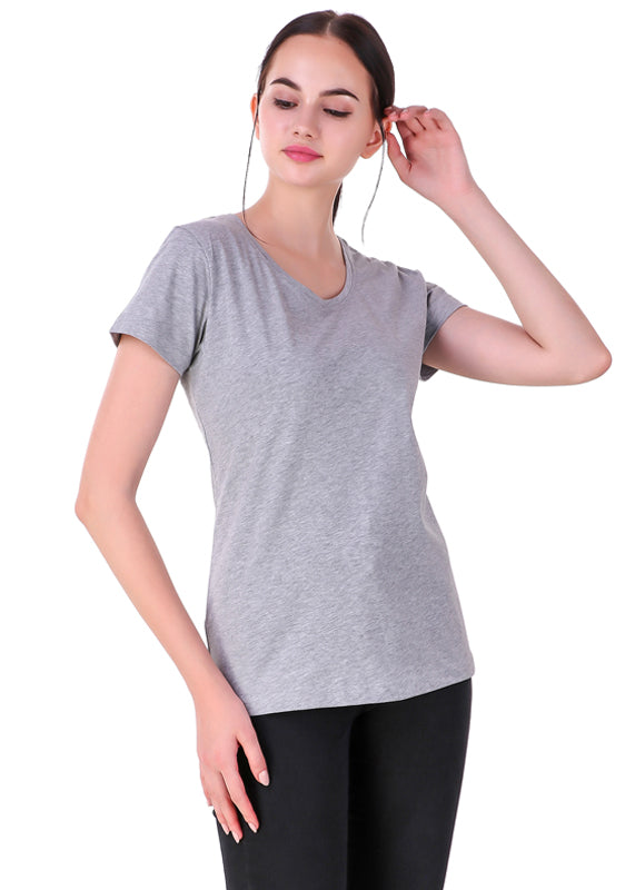 Heather-Grey--Short-Sleeve-Plain-T-Shirt-for-Women-Online-at-Gajari.com-The-Best-T-Shirt-Brand-front-view