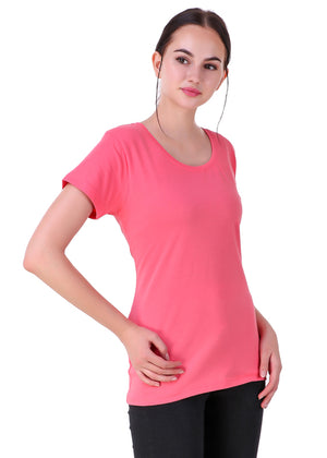Hot-Pink-Short-Sleeve-Plain-T-Shirt-for-Women-Online-at-Gajari.com-The-Best-T-Shirt-Brand-rv