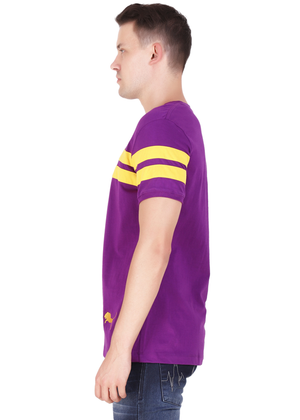 Purple T-Shirt for Men Stylish Half Sleeve Yellow Stripe Cotton Built at Gajari lv