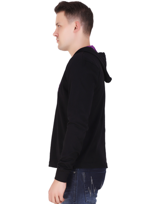 branded hoodies for men black full sleeve made of pure cotton jersey lv