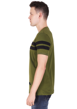 100% Cotton T-Shirt for Men Stylish Olive Green Black Striped online T-shirt shopping India lv