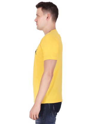 V Neck T Shirt for Men Pure Cotton Yellow lv