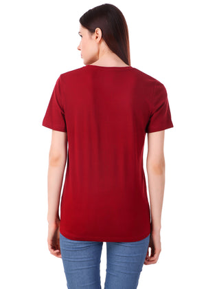 Maroon-Half-Sleeve-Plain-T-Shirt-for-Women-Online-at-Gajari.com-The-Best-T-Shirt-Brand-bv