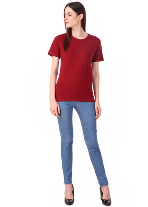 Maroon Short Sleeve Women's Plain T-Shirt