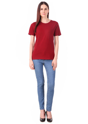 Maroon-Half-Sleeve-Plain-T-Shirt-for-Women-Online-at-Gajari.com-The-Best-T-Shirt-Brand-ffv