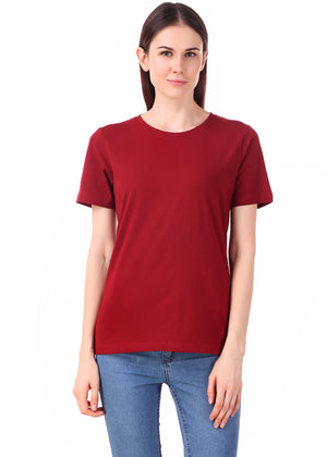 Maroon-Half-Sleeve-Plain-T-Shirt-for-Women-Online-at-Gajari.com-The-Best-T-Shirt-Brand-fv