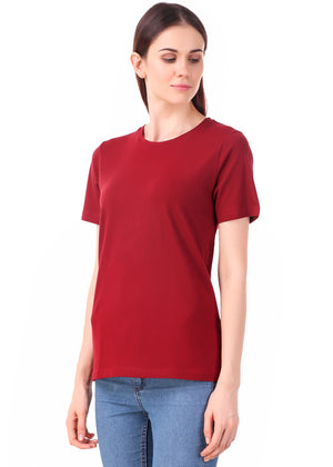 Maroon-Half-Sleeve-Plain-T-Shirt-for-Women-Online-at-Gajari.com-The-Best-T-Shirt-Brand-lv
