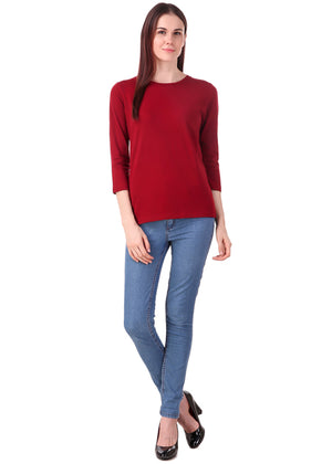 Maroon-Long-Sleeve-Plain-T-Shirt-for-Women-Online-at-Gajari.com-The-Best-T-Shirt-Brand-ffv