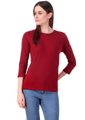 Maroon-Long-Sleeve-Plain-T-Shirt-for-Women-Online-at-Gajari.com-The-Best-T-Shirt-Brand-fv1